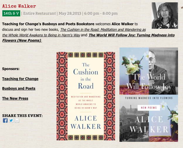 Teaching for Change's Busboys and Poets Bookstore welcomes Alice Walker