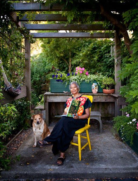 Alice Walker in her Garden with Miles, photo credit: Scott Campbell