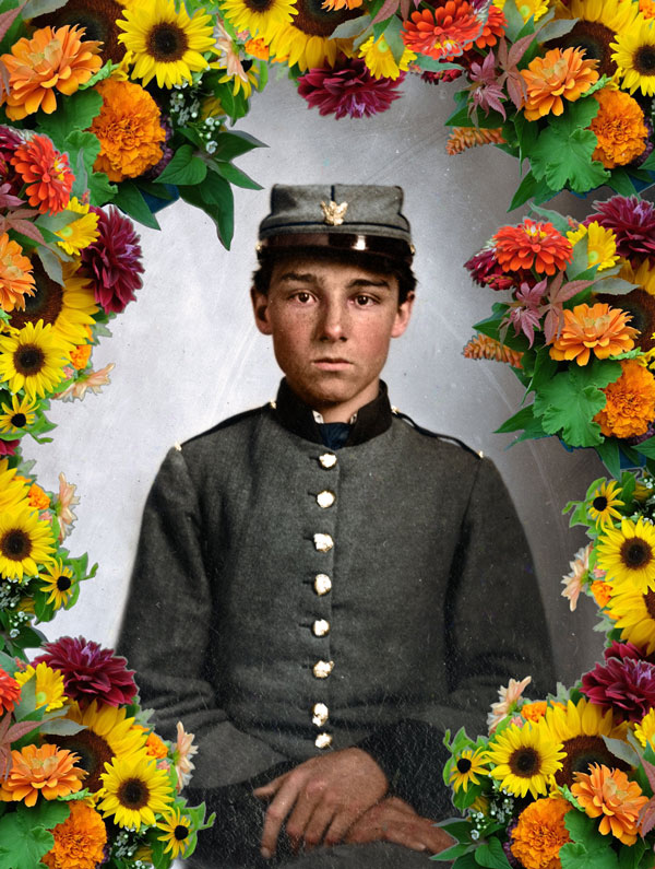 Actual Confederate Boy Soldier War Photo Surrounded by Flowers Alice Walker 2018-08-24
