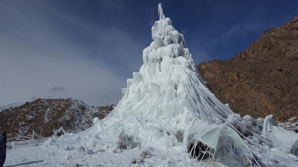 Ice Stupa being created