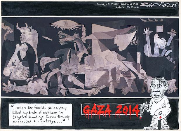 "Gaza ""a full-blown humanitarian crisis"" credit – Zapiro (Jonathan Shapiro) / Sunday Times (South Africa)"