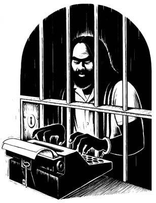 mumia abu jamal image typing behind jail bars if i were president by alice walker