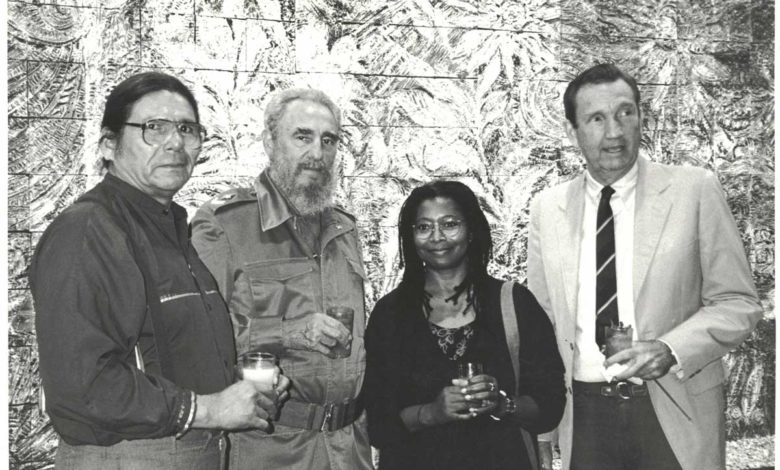 Photo of Dennis Banks Fidel Castro Alice Walker Ramsey Clark April 1993
