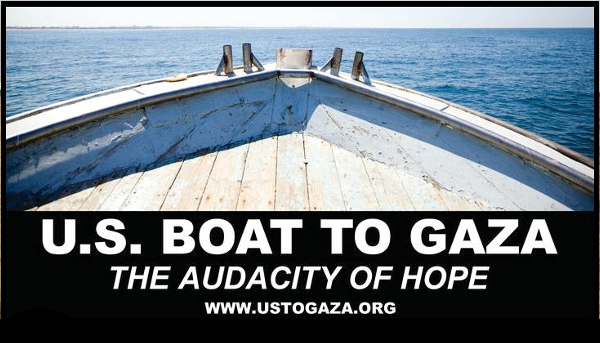 "front of a large wooden boat ""A Boat To Gaza"""