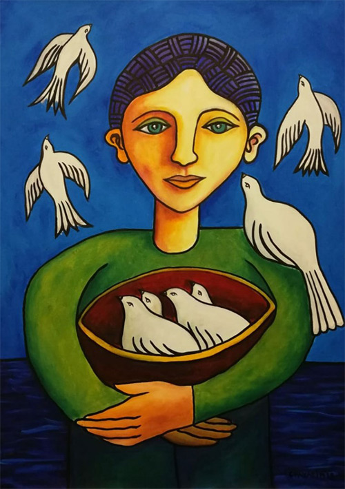 Boy With Birds, Alvaro Chavarin Alice Walkers Garden 2019