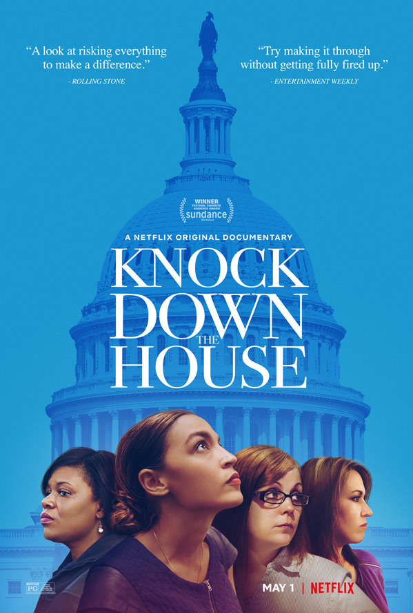 Netflix Knock Down the House poster showing new congress women with white house as backdrop