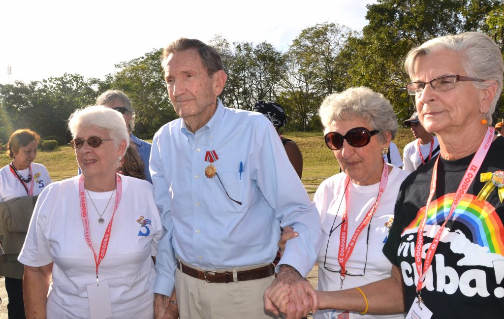 Ramsey Clark receives Cuba's Solidarity Medal. With him, Mothers of the Cuban Five, Mirta Rodríguez, Irma Sehwerert, Magali Llort. Credit: Gloria La Riva