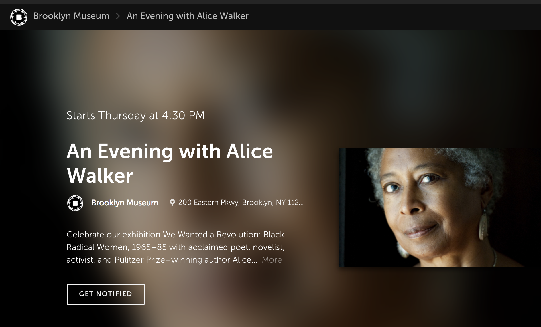 Alice Walker at Brooklyn Museum May 2017