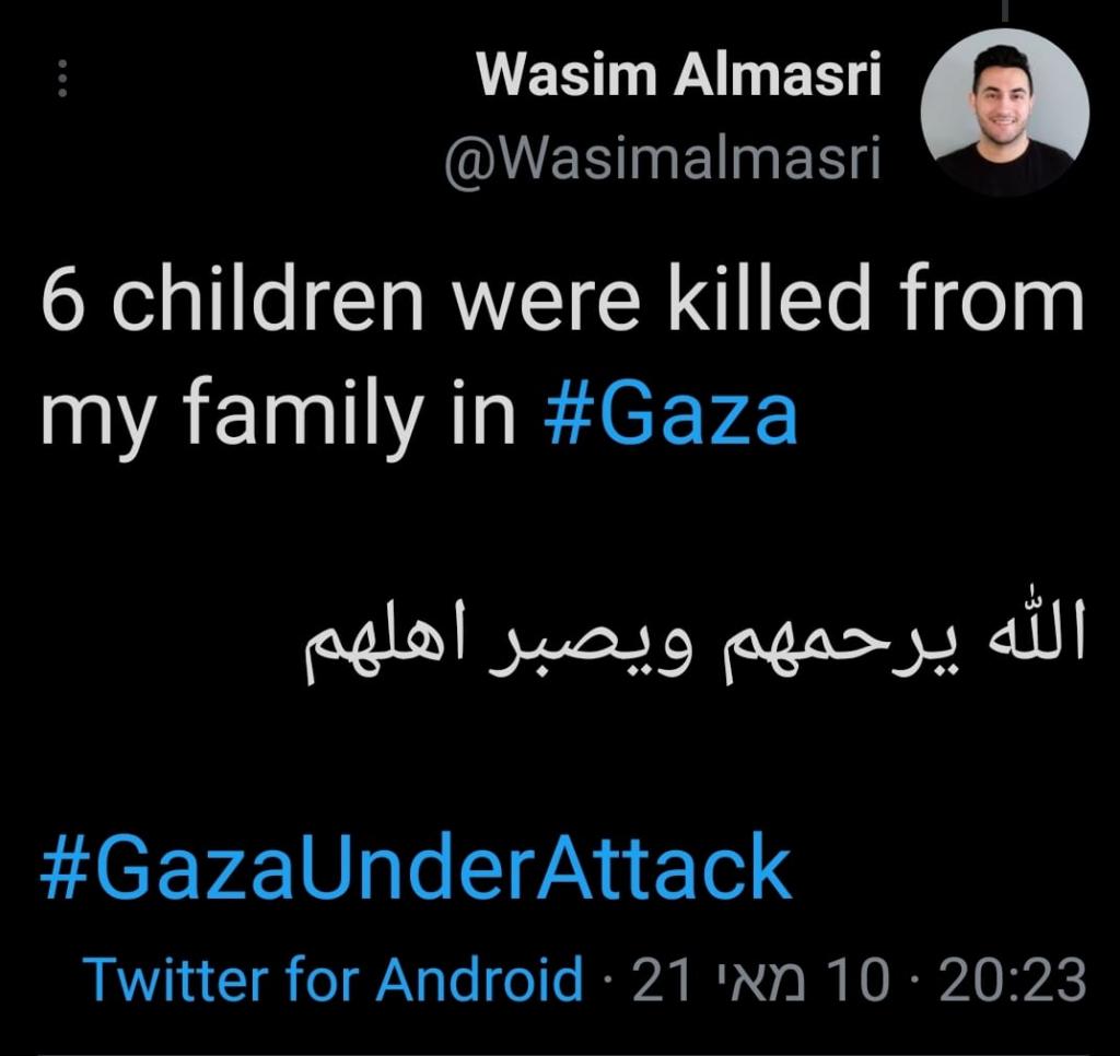 Wasim Almasri 6 children killed from his family Gaza 2021-05