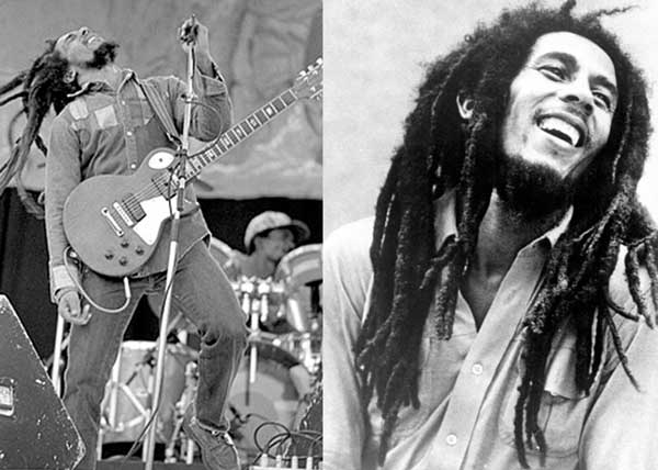 Bob Marley 2 panel photo playing guitar concert up close smiling happy beautiful long dreads