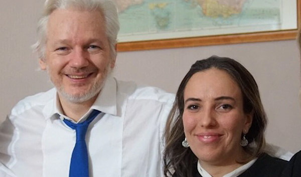 Julian Assange and fiance Stella Moris