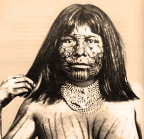 Mojave Woman Face Tattoos old photo